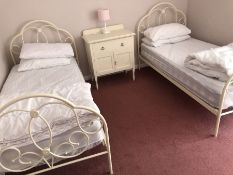 Two single white painted metal beds (bed 5)
