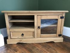 Pine low TV stand with drawers and cupboard