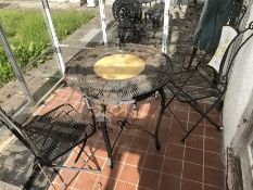 Metal garden bistro table and two chairs