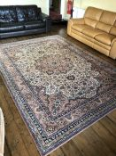 Large red ground rug, approx 333cm x 240cm