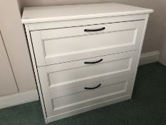 Modern white three drawer chest of drawers (bed 4)