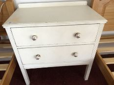 Two drawer painted chest (bed 2)
