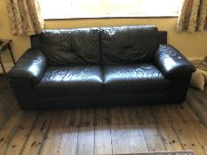 Two seater brown leather sofa, approx 208cm in length