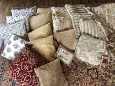 Collection of soft furnishings to include throws, cushions etc