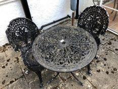Aluminium circular garden table and two chairs