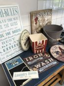 Collection of decorative interiors items to include clock, metal signs etc