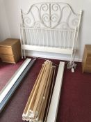 White metal bed frame, approx 145cm wide