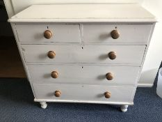 White painted pine chest of five drawers (bed 8)