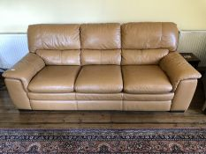 Three seater leather sofa in tan leather, approx 220cm in length