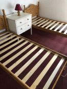Pair of Pine single beds (bed 3)