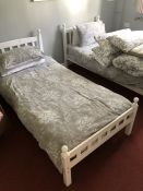 Pair of wooden single white painted beds