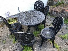 Painted metal garden table and five chairs