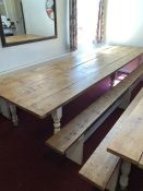 Very large rustic five plank dining table with two benches on turned painted legs, approx 381cm x