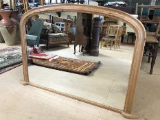 Pine framed over mantle mirror, approx 125cm x 81cm