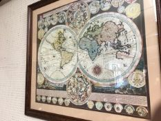Large framed map of the globe, approx 95cm x 89cm