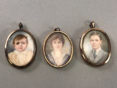 Three original watercolour miniatures in Gold coloured frames to include a lady, gentleman and