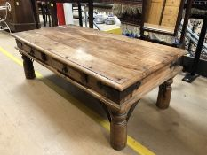 Mexican pine oblong coffee table with two drawers, approx 120cm x 60cm x 40cm tall