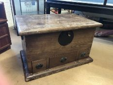 Heavy Chinese marriage chest with metal fixings and three drawers under, approx 98cm x 65cm x 60cm