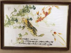 Chinese framed watercolour depicting Koi Carp with three Chinese red character marks, approx 49cm