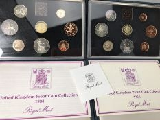 Two sets of Royal Mint United Kingdom Proof Collection bound Coin sets 1983 & 1984