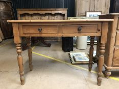 Small pine console table with two drawers and turned legs, approx 106cm x 46cm x 78cm tall