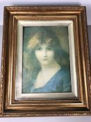 Gilt framed print of a woman, approx 23.5cm x 33.5cm (inside mount)