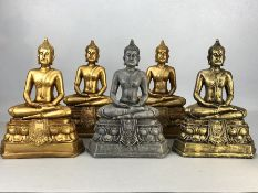 A collection of five modern Buddha figurines, each approx 23cm in height