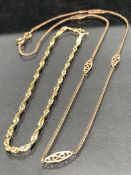 9ct Gold childs necklace and a 14ct fancy bracelet (total weight approx 3.8g)