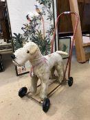 Vintage push-along Fox Terrier dog