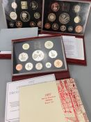 Three sets of Royal Mint United Kingdom Proof Collection leather bound Coin sets 1997, 1998 & 1999