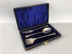 Hallmarked Silver Christening set in blue velvet case