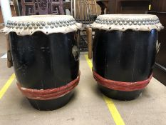 Pair of Chinese drums, each approx 61cm in height