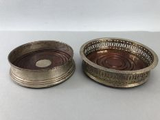 Silver hallmarked wine coaster by W I Broadway & Co with hallmarked silver insert and one other