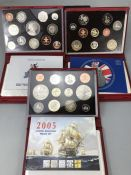 Three sets of Royal Mint United Kingdom Proof Collection leather bound Coin sets 2004, 2005 & 2007