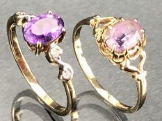 Two 9ct Gold rings both set with purple stones sizes M.5 & M (total weight 3.2g)