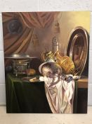 Contemporary canvas of a still life, approx 51cm x 61cm