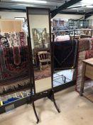 Cheval mirror on original castors
