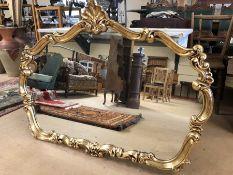 Large gilt framed over mantle mirror, approx 121cm x 89cm