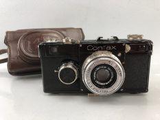 Vintage Zeiss Ikon black Rangefinder Contax camera with Carl Zeiss Jana Tessar 5cm F/3.5 lens. Clean