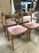 Set of four Mid century upholstered chairs