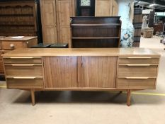 Mid century sideboard with cutlery draw and central cupboards approx 198 x 48 x 74 (A/F)