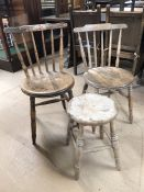 Pair of pine stick back chairs with circular seats along with a vintage pine stool