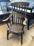 Vintage kitchen farmhouse chair with slatted back