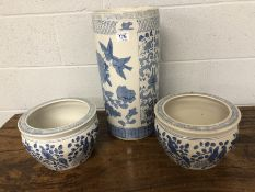 Chinese blue and white umbrella / stick stand depicting birds and chrysanthemums, approx 46cm high
