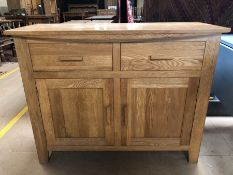 Modern oak sideboard with two drawers and cupboard under, approx 110cm x 46cm x 85cm tall