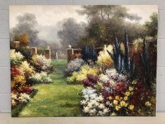Large contemporary oil on canvas of an English garden scene, approx 116cm x 87cm