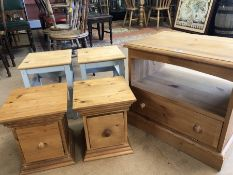 Small collection of pine furniture to include TV unit, two low bedsides/drawers and a pair of pine