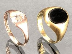 Two 9ct gold rings one set with an Onyx size 'F' and the other with a star set Diamond 'J' (approx