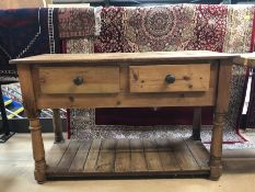 Kitchen console with two drawers and shelf under, approx 122cm x 48cm x 79cm tall