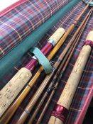 Antique Fishing tackle: Two split cane rods one by Flectes